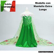 Frozen Fever Vestiti Carnevale Elsa Dress Costumes mantello extra lungo 789021B