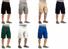 Mens Twill Cargo Shorts with Belt Short Pants Summer Multi Pocket Vacation 30 40
