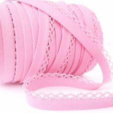 Picot Lace Edge Plain Bias Binding Trim - Baby Pink - Cotton Fabric Trim