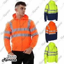 New Mens Hi Vis Hoody Viz Visibility Zip Up Fleece Sweatshirt Work Hoodie Jacket