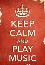 ACR14 Vintage Style Rojo Keep Calm y reproducir música Gracioso Poster Print A2/A3/A4