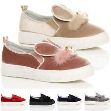 Niñas Niños Childrens Terciopelo Pom Pom Orejas Entrenadores Zapatos De Salón Zapatillas De Tenis Conejo