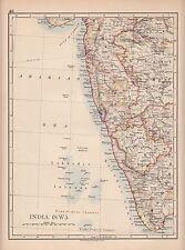 1897 VICTORIAN MAP ~ INDIA ~ SOUTH WEST ~ MYSORE MADRAS BOMBAY BERAR KHANDESH