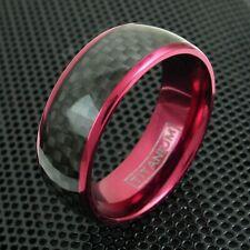 8mm Wine Red Titanium Men's Ring Black Carbon Fiber Wedding Band Jewelry