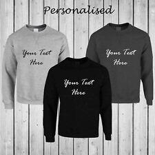 Mens Personalised Casual Classic Plain Pullover Sweatshirt Jumper Sweater Top