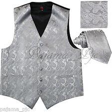 SILVER GRAY MEN Paisley Tuxedo Suit Dress Vest Waistcoat & Neck tie & And Hankie