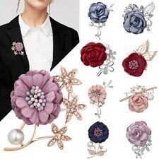 Handmade Wedding Crystal Womens Lapel Flower Boutonniere Brooch Pin Breastpin