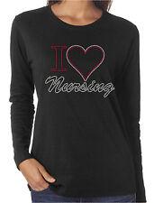 I Heart Nursing Love Rhinestone Women's Long Sleeve Shirts Nurse Medical RN LPN