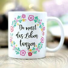 T103 Wandtattoo-Loft Kaffee Tasse Leben Tanzen Blumen Tanz Büro Geschenk Freunde