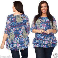 757 Women's Stylish Ruffle Pattern 3/4 Sleeve Shirt Multicolour Tunic M L XL