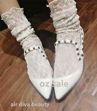 Women Girls Long Fancy Retro Lace Ruffle frilly princess Fashion Loose Socks