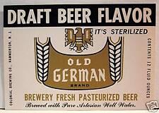 Old German Beer Bottle Label Colonial Brew Hammonton NJ