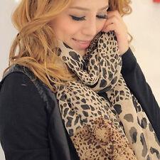 Women Leopard Print Long Scarf Shawl Ladies Chiffon Soft Wrap Stole Scarves
