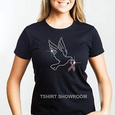 Colomba con Rosa speranza multifunzione con strass / Diamante Impreziosito Donna T Shirt