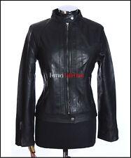 Amy Damen Schwarz Damen Smart Retro Vintage Stil Echte Lammfell Leder Jacke