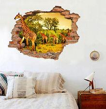 3D Giraffe Grassland 021 Wall Murals Stickers Decal breakthrough AJ WALLPAPER CA