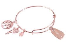 Rose Gold Plate Balance Charm Expandable Wire Bracelet Bangle #91503