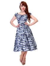 Collectif Dolores Mahiki Muñeca Vestido de línea principal Vintage Azul Blanco Talla 8 - 22 1950s