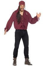 Pirate Shirt Adult Costume (Dark Red)