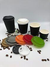 BLACK RIPPLE TRIPLE WALL Disposable Paper Cups 500-1000 x 12oz LIDS Hot Drinks