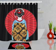 "79"" Waterproof Fabric Shower Curtain Bathroom Set Traditional Japanese Girl Lady"