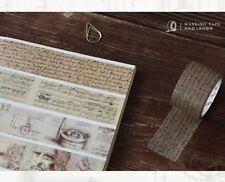 Washi Tape Vintage Manuscript Da Vinci Newton Chopin 30mm wide sold by meter