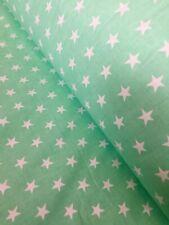 "100% Cotton Printed Fabric,Per meter, width 160 cm / 63"" mint star,animals NEW"