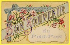 """cpa Rare 44 - NANTES FANTAISIE """"Bon Souvenir du PETIT PORT"""" Ed. Artaud et Nozais"""