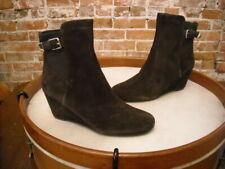 Isaac Mizrahi kayln marrone scuro camoscio stivali caviglia con stringhe NUOVO