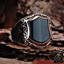Aqeeq Men's Shield Ring Green Gemstone Ottoman Custom Symbol Signet Jewelry