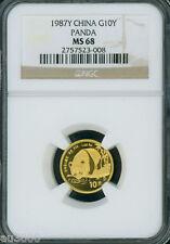 1987-Y 1/10 Oz. GOLD PANDA 10-Y 1o_YUAN YN NGC MS68 MS-68 CHINA !!