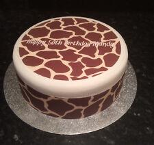 Giraffe Print pre-cut Edible Icing, Sugar Topper or Ribbon for Birthday Cake