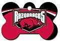 NCAA ARKANSAS RAZORBACKS ENGRAVED LG BONE PET ID TAG