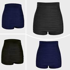 Women Bikini High Waist Bottom Swim Briefs Beach Shorts Blue Black Tummy Control