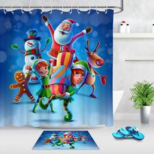 Happy Winter Holidays Santa Gingerbread Kids Shower Curtain Hooks Bathroom Mat