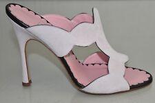 "NEW Manolo Blahnik Sandals 5"" HEEL Suede Pale Pink Black Scallop Slide Shoes 40"
