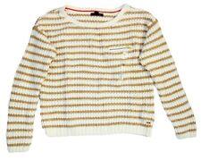 Tommy Hilfiger Women's Fashion Cropped Striped Knit Sweater, Cream/Beige, M