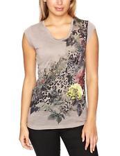 Ladies Womens Firetrap Strip Long Graphic Bead T-Shirt Mist Cream, Summer