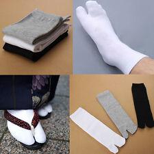 Unisex Japanese Socks Kimono Flip Flop Sandal Split Toe Tabi Geta Sport White CA