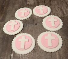 Holy Communion Christening Cross Handmade Edible Cupcake Topper for Girls Pink