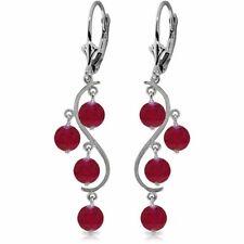 Genuine Red Ruby Gems Chandelier Leverback Earrings 14K White, Yellow, Rose Gold
