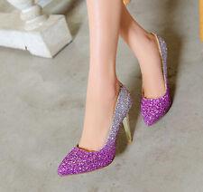 Décollte Zapatos de salón mujer talón perno 9 cm tacón aguja strass rosa 9174