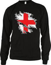 Shredded England Rip Through Country Flag - English Pride Long Sleeve Thermal