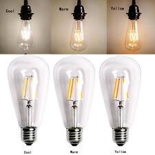 LOT-10 Vintage Retro Edison E27 2W 6W 8W Screw LED Filament Bulb Light ST64 Lamp