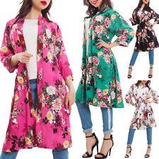 Spolverino donna kimono floreale cintura raso giacca elegante nuovo AS-2789