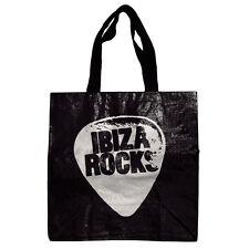 Ibiza Rocks Bolso Plata OFFICIAL Logo Negro Pesado Deber Shopper RRP £ 25.00