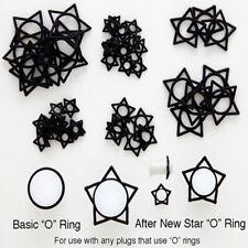 Rubber O - Ring Star Schwarz 2 Piece Set SPARE PLUG TUNNEL Größe 2 - 14 mm