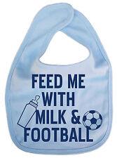 "Dirty Fingers ""Feed Me with Milk & Football"" Funny Cute Baby Feeding Time Bib"