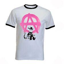 BANKSY ANARCHY RAT T-SHIRT - Anarchism Punk Anarchist - Sizes S-XXL
