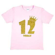 Kids Twelve Today Birthday T-shirt In Gold Glitter Happy 12th Birthday Gift